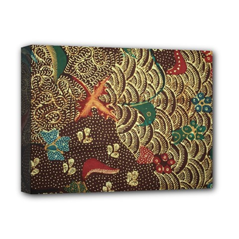 Art Traditional Flower  Batik Pattern Deluxe Canvas 16  X 12