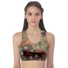 Art Traditional Flower  Batik Pattern Sports Bra
