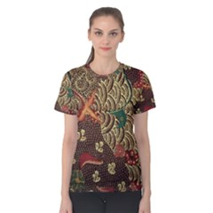 Art Traditional Flower  Batik Pattern Women s Cotton Tee