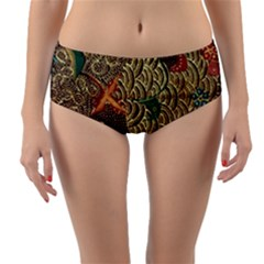 Art Traditional Flower  Batik Pattern Reversible Mid Waist Bikini Bottoms