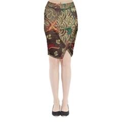 Art Traditional Flower  Batik Pattern Midi Wrap Pencil Skirt