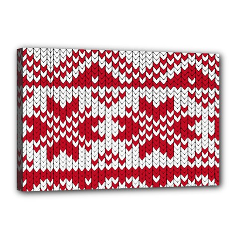 Crimson Knitting Pattern Background Vector Canvas 18  X 12