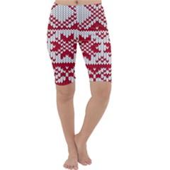 Crimson Knitting Pattern Background Vector Cropped Leggings