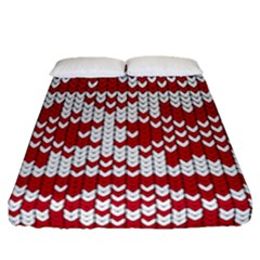 Crimson Knitting Pattern Background Vector Fitted Sheet (queen Size)