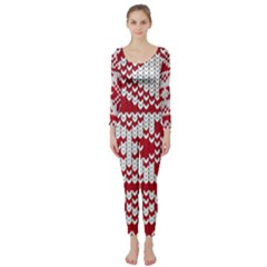 Crimson Knitting Pattern Background Vector Long Sleeve Catsuit