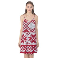Crimson Knitting Pattern Background Vector Camis Nightgown