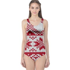 Crimson Knitting Pattern Background Vector One Piece Swimsuit