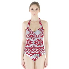 Crimson Knitting Pattern Background Vector Halter Swimsuit