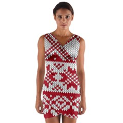 Crimson Knitting Pattern Background Vector Wrap Front Bodycon Dress