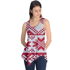 Crimson Knitting Pattern Background Vector Sleeveless Tunic
