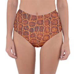 Crocodile Skin Texture Reversible High Waist Bikini Bottoms