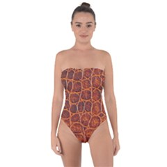 Crocodile Skin Texture Tie Back One Piece Swimsuit