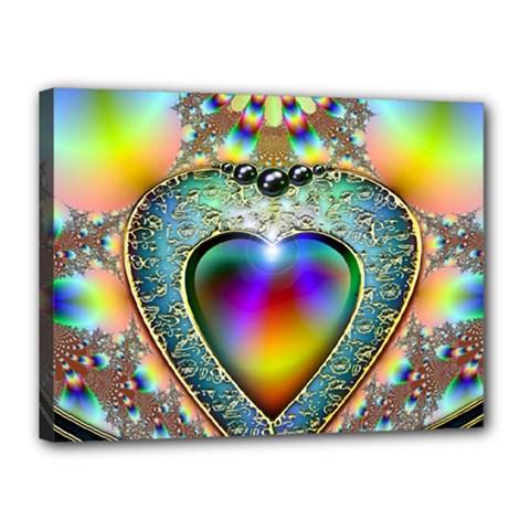 Rainbow Fractal Canvas 16  X 12