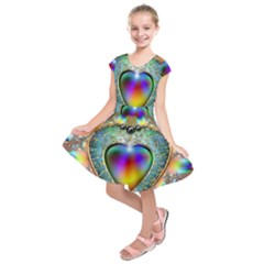 Rainbow Fractal Kids  Short Sleeve Dress