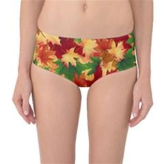 Autumn Leaves Mid Waist Bikini Bottoms