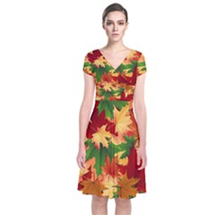 Autumn Leaves Short Sleeve Front Wrap Dress