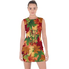 Autumn Leaves Lace Up Front Bodycon Dress