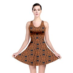 Triangle Knot Orange And Black Fabric Reversible Skater Dress