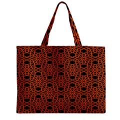 Triangle Knot Orange And Black Fabric Medium Tote Bag
