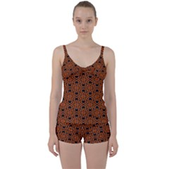 Triangle Knot Orange And Black Fabric Tie Front Two Piece Tankini