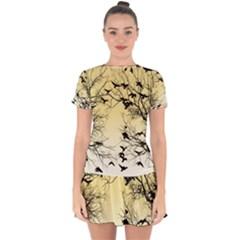 Crow Flock  Drop Hem Mini Chiffon Dress