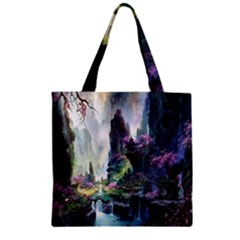 Fantastic World Fantasy Painting Zipper Grocery Tote Bag