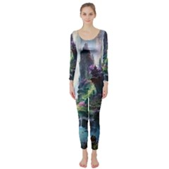 Fantastic World Fantasy Painting Long Sleeve Catsuit