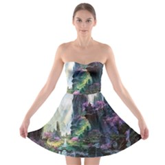 Fantastic World Fantasy Painting Strapless Bra Top Dress