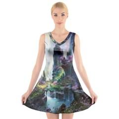 Fantastic World Fantasy Painting V Neck Sleeveless Skater Dress
