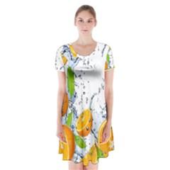 Fruits Water Vegetables Food Short Sleeve V Neck Flare Dress
