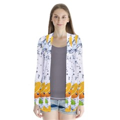 Fruits Water Vegetables Food Drape Collar Cardigan