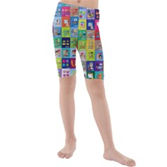 Exquisite Icons Collection Vector Kids  Mid Length Swim Shorts