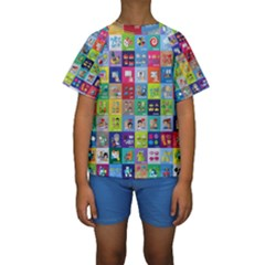 Exquisite Icons Collection Vector Kids  Short Sleeve Swimwear