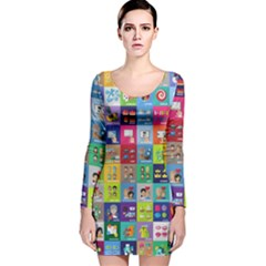 Exquisite Icons Collection Vector Long Sleeve Velvet Bodycon Dress
