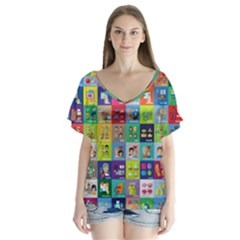 Exquisite Icons Collection Vector Flutter Sleeve Top