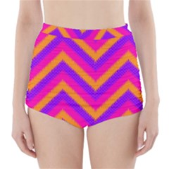 Chevron High Waisted Bikini Bottoms