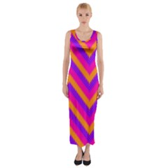 Chevron Fitted Maxi Dress