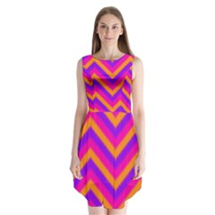 Chevron Sleeveless Chiffon Dress