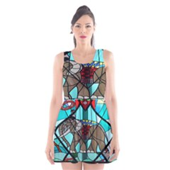 Elephant Stained Glass Scoop Neck Skater Dress