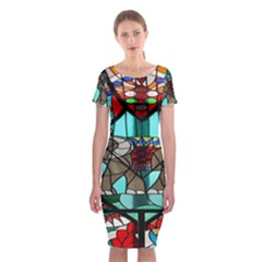 Elephant Stained Glass Classic Short Sleeve Midi Dress