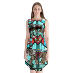 Elephant Stained Glass Sleeveless Chiffon Dress
