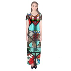 Elephant Stained Glass Short Sleeve Maxi Dress