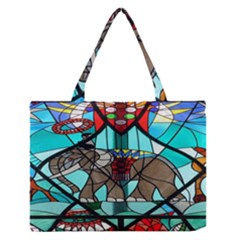 Elephant Stained Glass Medium Zipper Tote Bag