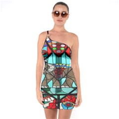 Elephant Stained Glass One Soulder Bodycon Dress