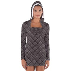 Seamless Leather Texture Pattern Long Sleeve Hooded T Shirt