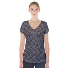 Seamless Leather Texture Pattern Short Sleeve Front Detail Top