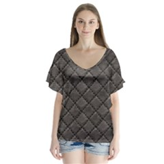 Seamless Leather Texture Pattern Flutter Sleeve Top