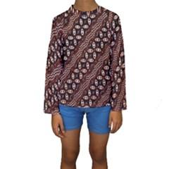Art Traditional Batik Pattern Kids  Long Sleeve Swimwear