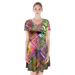 Technology Circuit Computer Short Sleeve V Neck Flare Dress