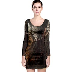 Fractalius Abstract Forests Fractal Fractals Long Sleeve Bodycon Dress